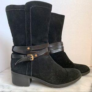Bandolino Black Suede Mid Calf Round Toe Boot